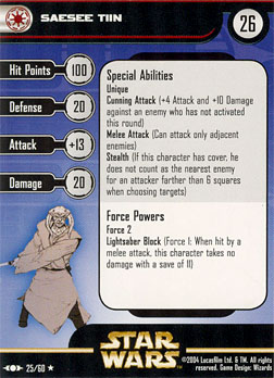 Star Wars Miniature Stat Card - Saesee Tiin, #25 - Rare