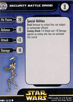 Star Wars Miniature Stat Card - Security Battle Droid, #46 - Common