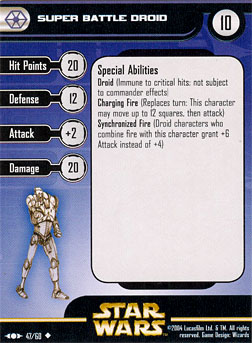 Star Wars Miniature Stat Card - Super Battle Droid #47, #47 - Uncommon