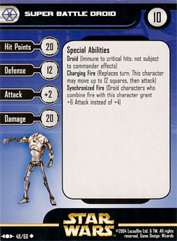 Star Wars Miniature Stat Card - Super Battle Droid #48, #48 - Uncommon