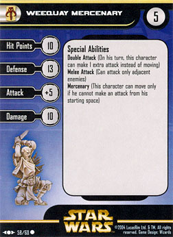 Star Wars Miniature Stat Card - Weequay Mercenary, #58 - Common