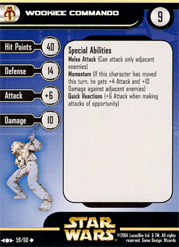 Star Wars Miniature Stat Card - Wookiee Commando, #59 - Uncommon