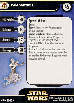 Star Wars Miniature Stat Card - Zam Wesell, #60 - Rare
