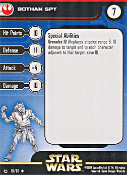 Star Wars Miniature Stat Card - Bothan Spy, #1 - Uncommon