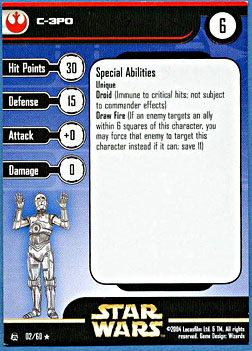 Star Wars Miniature Stat Card - C-3PO, #2 - Rare