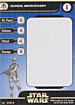 Star Wars Miniature Stat Card - Duros Mercenary, #44 - Uncommon