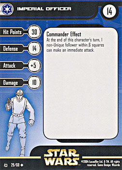 Star Wars Miniature Stat Card - Imperial Officer, #29 - Uncommon