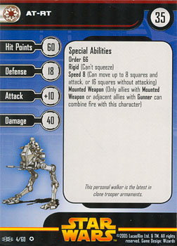 Star Wars Miniature Stat Card - AT-RT, #4 - Very Rare