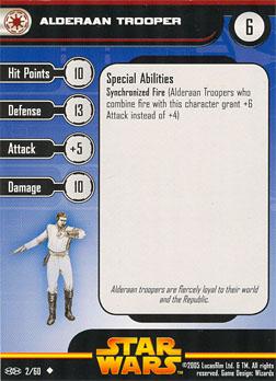 Star Wars Miniature Stat Card - Alderaan Trooper, #2 - Uncommon