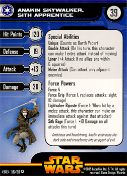 Star Wars Miniature Stat Card - Anakin Skywalker, Sith Apprentice, #56 - Very Rare