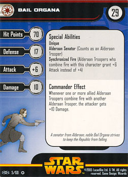 Star Wars Miniature Stat Card - Bail Organa, #5 - Very Rare