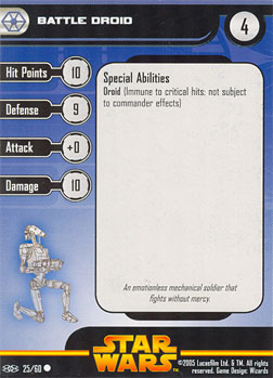 Star Wars Miniature Stat Card - Battle Droid #25, #25 - Common