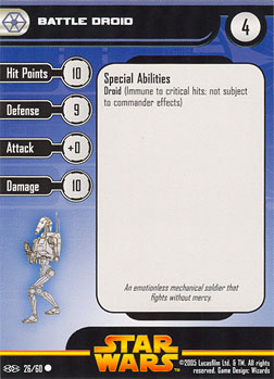 Star Wars Miniature Stat Card - Battle Droid #26, #26 - Common