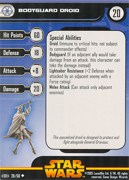 Star Wars Miniature Stat Card - Bodyguard Droid #28, #28 - Uncommon