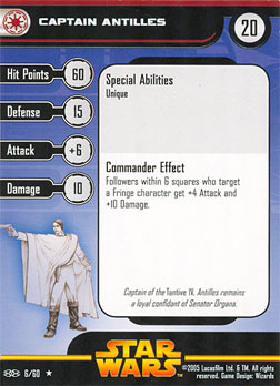 Star Wars Miniature Stat Card - Captain Antilles, #6 - Rare