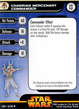 Star Wars Miniature Stat Card - Chagrian Mercenary Commander, #43 - Uncommon