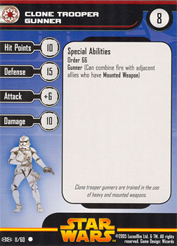 Star Wars Miniature Stat Card - Clone Trooper Gunner, #11 - Common
