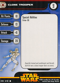 Star Wars Miniature Stat Card - Clone Trooper #8, #8 - Common