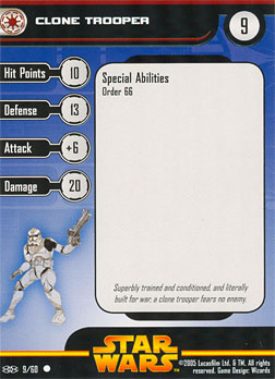 Star Wars Miniature Stat Card - Clone Trooper #9, #9 - Common