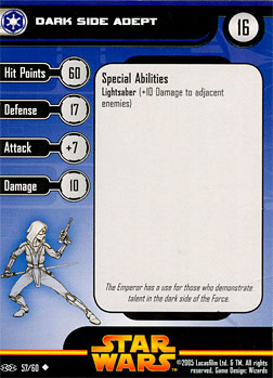 Star Wars Miniature Stat Card - Dark Side Adept, #57 - Uncommon