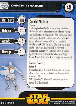 Star Wars Miniature Stat Card - Darth Tyranus, #29 - Rare