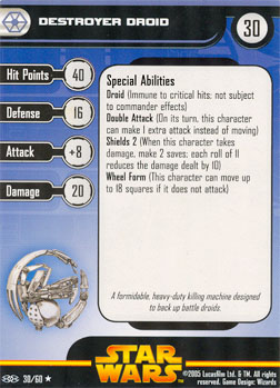 Star Wars Miniature Stat Card - Destroyer Droid, #30 - Rare