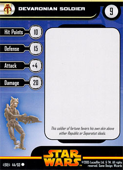 Star Wars Miniature Stat Card - Devaronian Soldier, #44 - Common