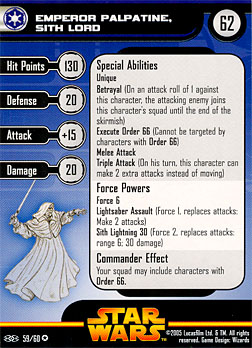 Star Wars Miniature Stat Card - Emperor Palpatine, Sith Lord, #59 - Very Rare