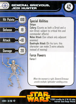 Star Wars Miniature Stat Card - General Grievous, Jedi Hunter, #31 - Very Rare