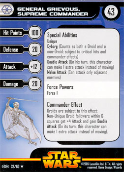 Star Wars Miniature Stat Card - General Grievous, Supreme Commander, #32 - Rare