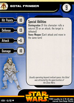 Star Wars Miniature Stat Card - Gotal Fringer, #45 - Uncommon