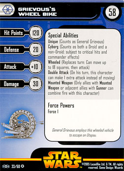Star Wars Miniature Stat Card - Grievous's Wheel Bike, #33 - Very Rare