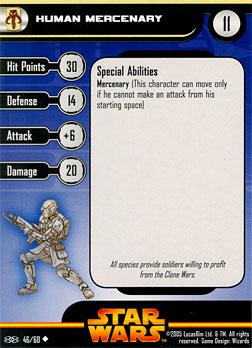 Star Wars Miniature Stat Card - Human Mercenary, #46 - Uncommon