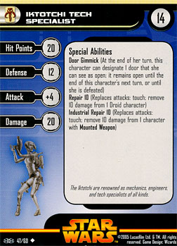 Star Wars Miniature Stat Card - Iktotchi Tech Specialist, #47 - Uncommon