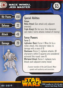 Star Wars Miniature Stat Card - Mace Windu, Jedi Master, #13 - Very Rare
