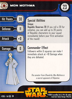 Star Wars Miniature Stat Card - Mon Mothma, #14 - Very Rare