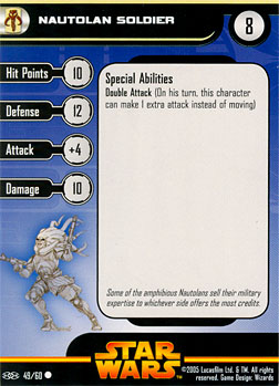 Star Wars Miniature Stat Card - Nautolan Soldier, #49 - Common