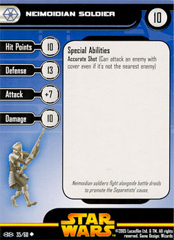 Star Wars Miniature Stat Card - Neimoidian Soldier #35, #35 - Uncommon