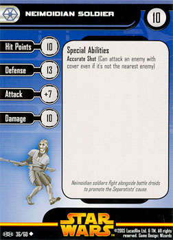 Star Wars Miniature Stat Card - Neimoidian Soldier #36, #36 - Uncommon