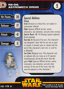 Star Wars Miniature Stat Card - R2-D2, Astromech Droid, #17 - Very Rare