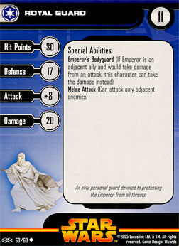 Star Wars Miniature Stat Card - Royal Guard, #60 - Uncommon