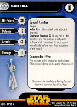 Star Wars Miniature Stat Card - San Hill, #37 - Rare