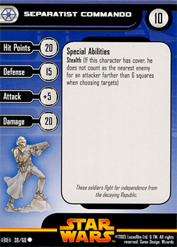 Star Wars Miniature Stat Card - Separatist Commando, #38 - Common