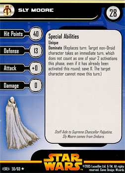 Star Wars Miniature Stat Card - Sly Moore, #50 - Rare