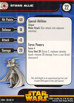 Star Wars Miniature Stat Card - Stass Allie, #20 - Rare