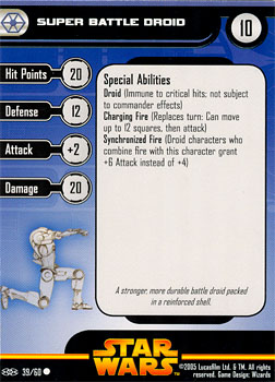 Star Wars Miniature Stat Card - Super Battle Droid #39, #39 - Common