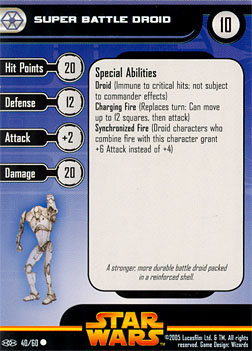 Star Wars Miniature Stat Card - Super Battle Droid #40, #40 - Common