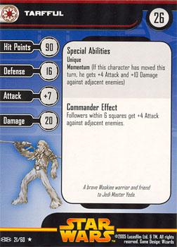 Star Wars Miniature Stat Card - Tarfful, #21 - Rare