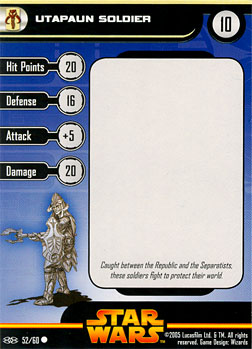 Star Wars Miniature Stat Card - Utapaun Soldier #52, #52 - Common