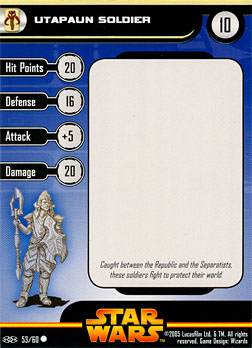Star Wars Miniature Stat Card - Utapaun Soldier #53, #53 - Common